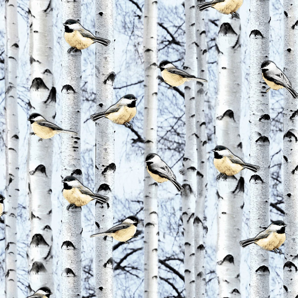 "Snowscape Birds on Birch 44"" fabric, Timeless Treasures, Winter-C6128-Powder"