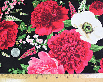 "Carnations on black background by Timeless Treasures, 44"" fabric, Carina-C6499-Black"