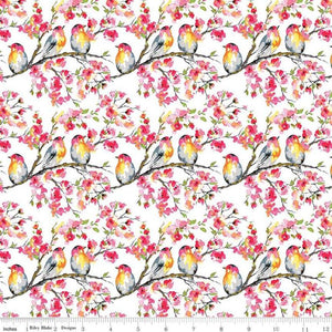 "Birds on white 44"" fabric, Riley Blake, C8401, Sweet Melody"