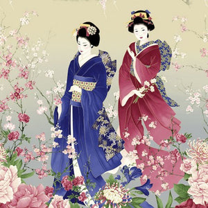 "Asian Women 24"" panel, Timeless Treasures, Sakura-CM6156-stone"