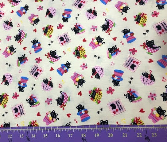 "Sweet and fun kittens playing in cups & umbrellas  44"" fabric by Hishiei, Seven Islands Fabric"