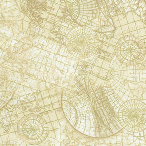 "World Maps with Gold Metallic, 44"" fabric, Timeless Treasures, Library-CM6894-crm"