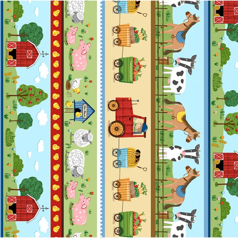 "Out to Pasture 44"" fabric by Michael Miller, CX9332-GREE-D, Down on the Farm"
