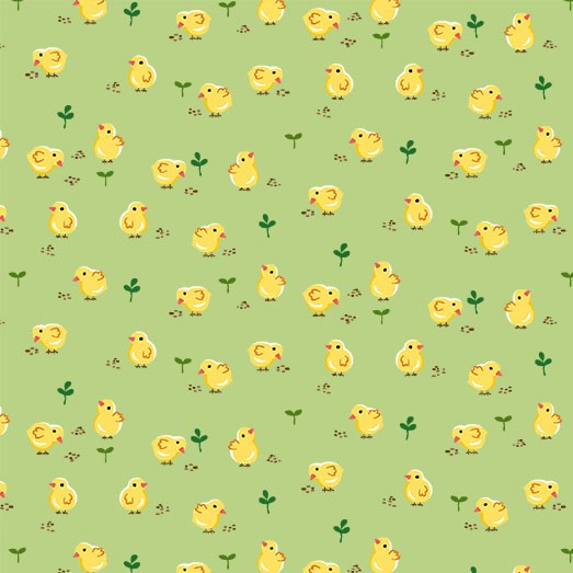 "Chicks Peeps 44"" fabric by Michael Miller,  CX9336-GREE, Down on the Farm"