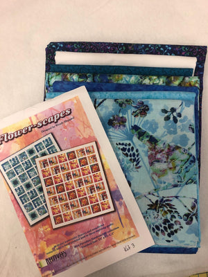 "Blue Paradise Flower-scapes quilt kit, Kanvas Studio, measures 55"" x 63"""