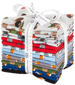 Mini Animals Fat Quarter Bundle, 16 pcs, Robert Kaufman, FQB FQ-1422-16, Andie's Minis