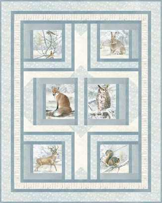 "Forest Friends flannel fabric Kit, Northcott flannel fabrics, measures 50"" x 63"""