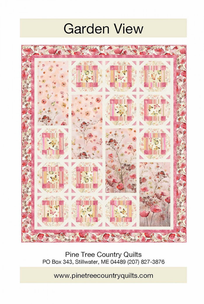 "Pink flowers and butterflies,  Garden View Quilt Kit 53"" x 64"", Timeless Treasures fabrics"
