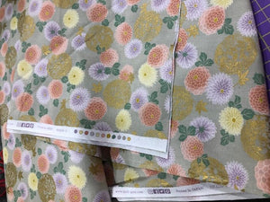 "Green Flowers and Koi 44"" fabric by Quilt Gate, HR3250Y 14B"