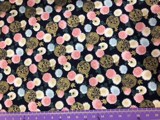 "Navy blue with Floral and Koi 44"" fabric by Quilt gate, metallic, HR3250-14"