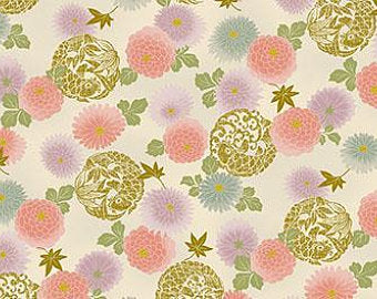 "Pink Flowers and Koi 44"" fabric by Quilt gate, metallic, HR3240-14"