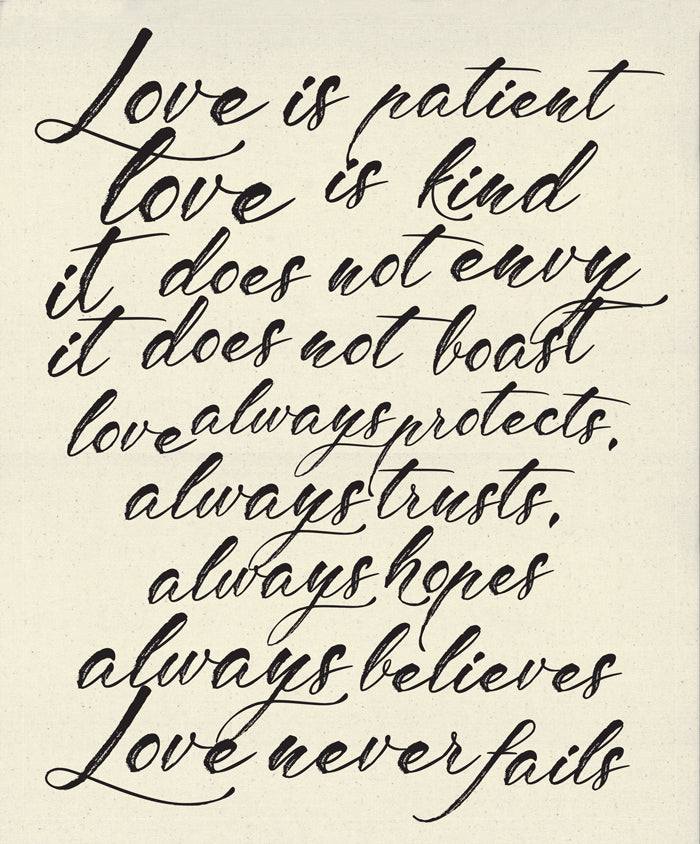 "Love is Patient, Love is Kind digital panel 54"" x 65"", 100% cotton canvas by Moda, 5762 11P"