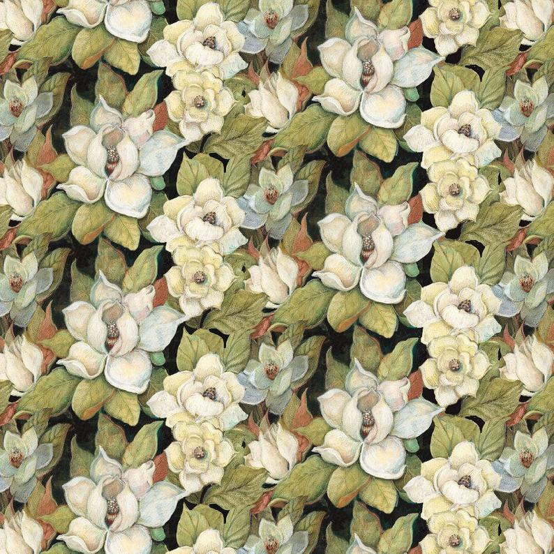 "Magnolia Floral 44"" fabric by Springs Creative, 64314, Iridescent Peacock"