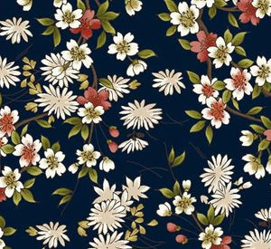 "Asian Flowers on blue background 44"" fabric by Maywood Studio, Japanese garden, MAS8082-N"