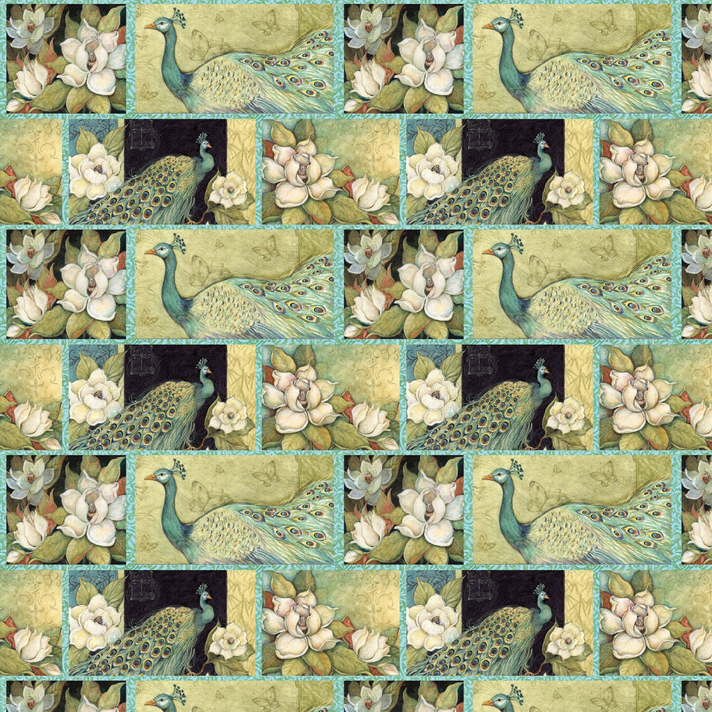 "Iridescent Patch Peacock  44"" fabric by Springs Creative, 64315-A620715"