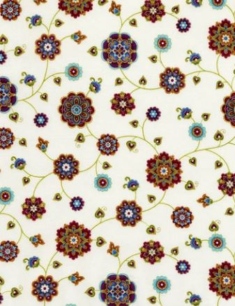 "Asian floral on cream background 44"" fabric, Timeless Treasures,  Fortuna cream CM5616"