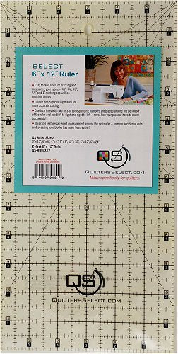 "Quilters Select 'non slip' Ruler 6"" x 12"""