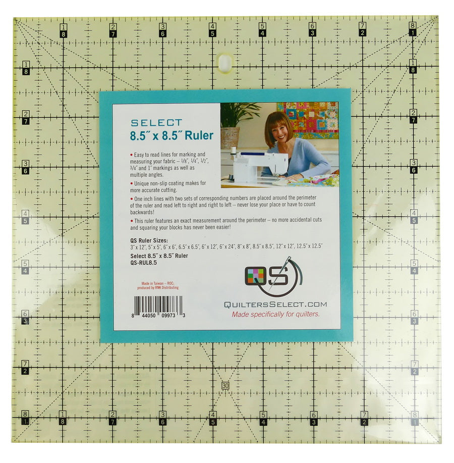 "Quilters Select 'non slip' Ruler 8.5"" x 8.5"""