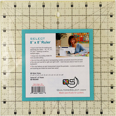 "Quilters Select 'non slip' Ruler 8"" x 8"""