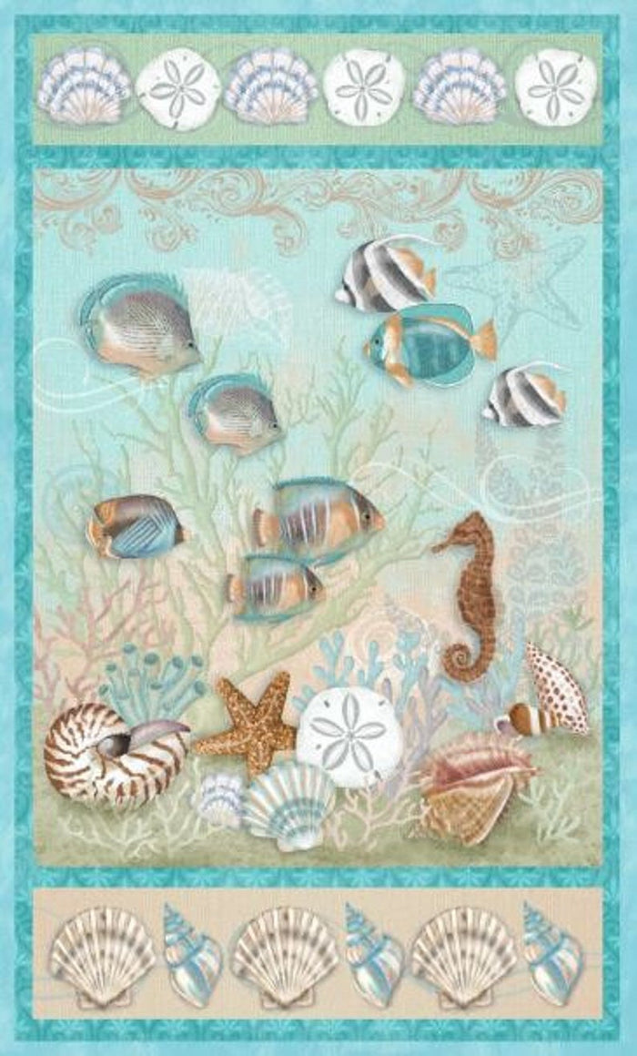 "Ocean, tropical reef  24"" panel, Studio-E, 3426P-16, Seaside Dreams"