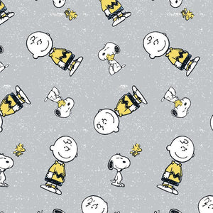 "Gray Snoopy & Charlie Brown 44"" fabric by Springs Creative, RN 124655"