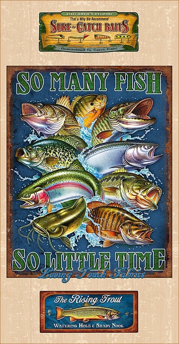 "Trout, Walleye, Catfish and So Many Fish ... - 24"" panel, Quilting Treasures, 25922-E"