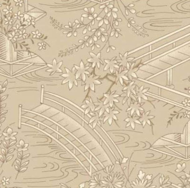 "Beige Japanese Garden 44"" fabric by Maywood Studio, Asian, MAS8083-T"