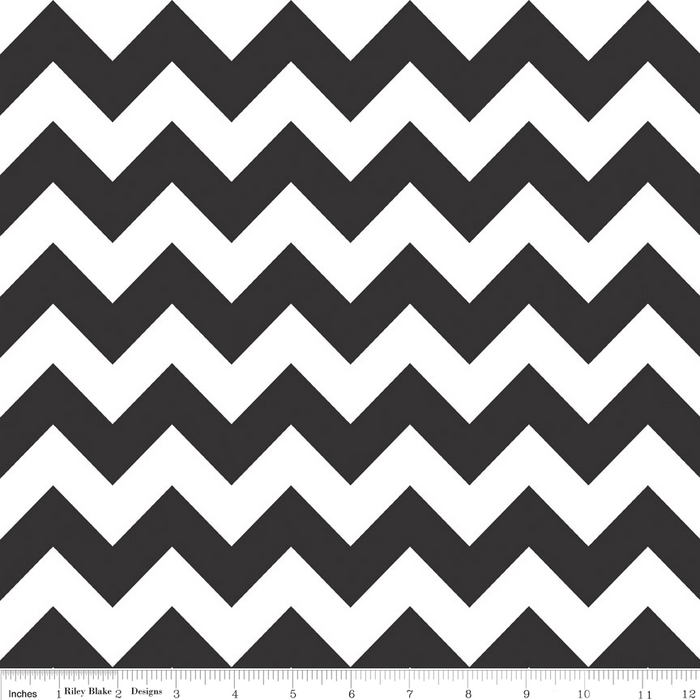 "Black Chevron 108"" fabric by Riley Blake,  WB320-110"