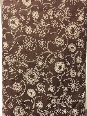 "Brown with white floral 108"" fabric, Westrade, 8098-17"