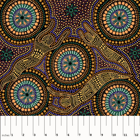 "Aboriginal Winter Spirits Yellow 44"" fabric by M&S Textiles, WSY"
