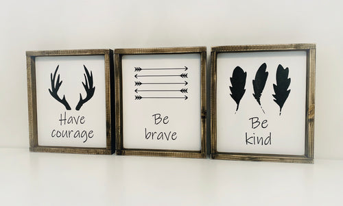 Brave Courage Kind Nursery Set of 3 Wood Signs