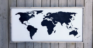 World Map Wood Sign