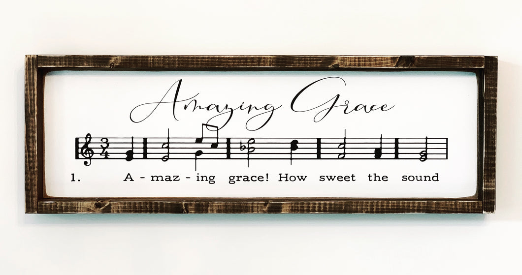 Amazing Grace Musical Notes Wood Sign