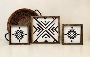 Boho Aztec Compass - Wood Sign