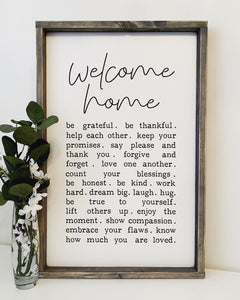Welcome Home List - Wood Sign