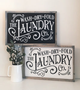 Vintage Laundry Wood Sign