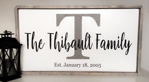 Customizable Family Name Sign - Big letter Grey