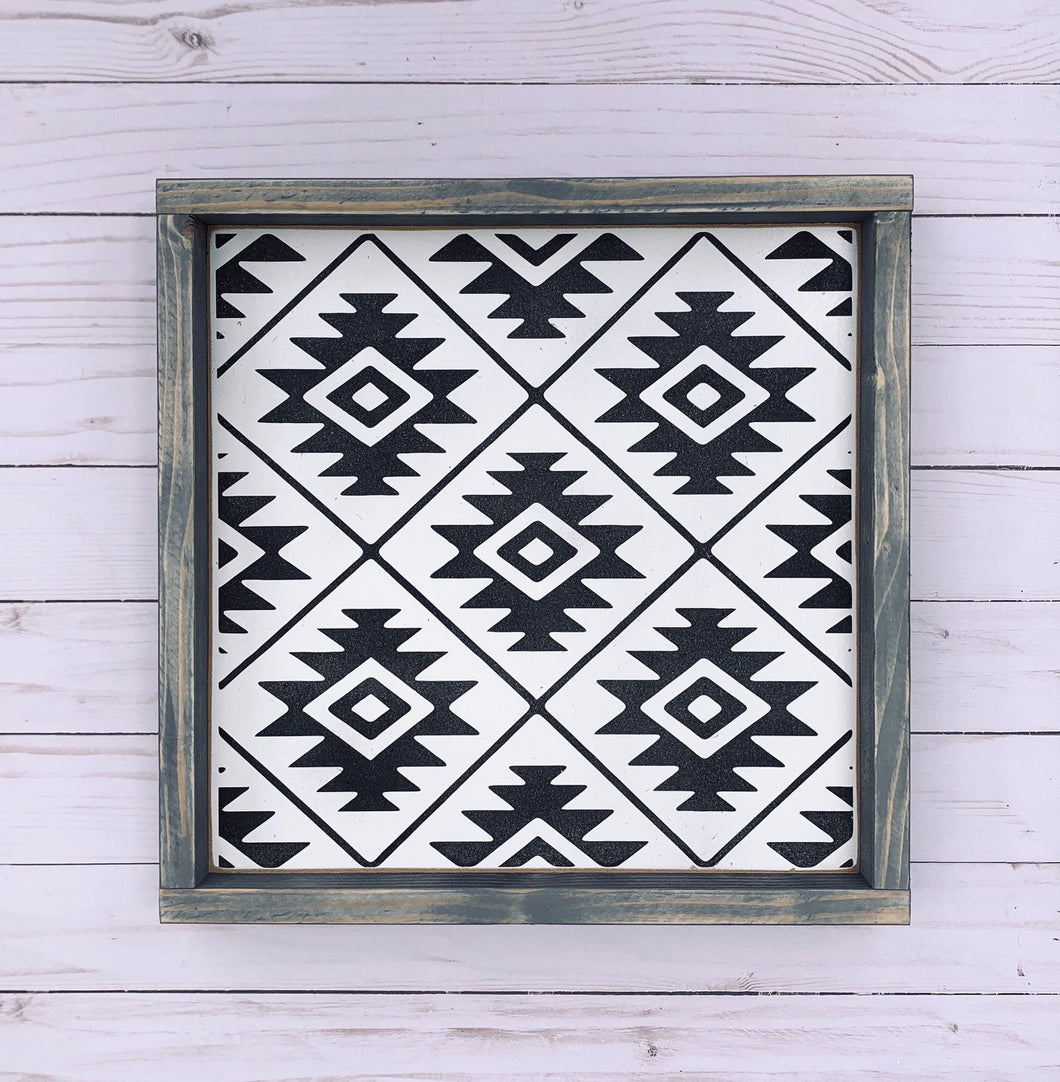 Boho Aztec North Print - Wood Sign