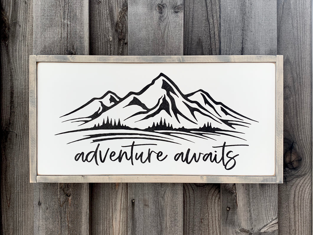 Adventure Awaits (Mountains) - Wood Sign