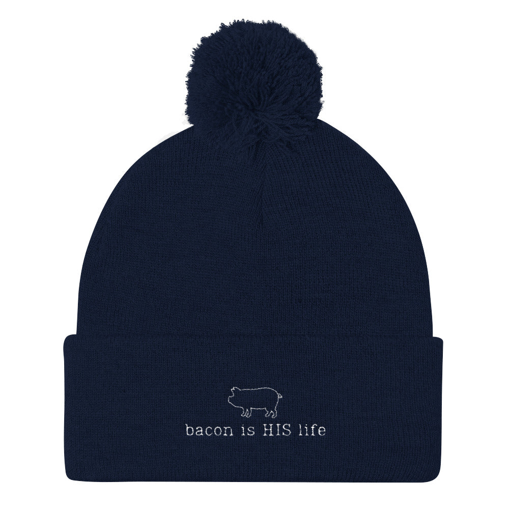 Bacon is HIS Life Pom Pom Knit Cap