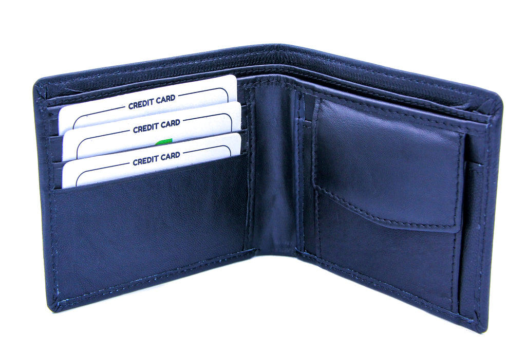 Genuine Credit Card Wallet with Note Section Black 1181 Sheep Nappa Leather