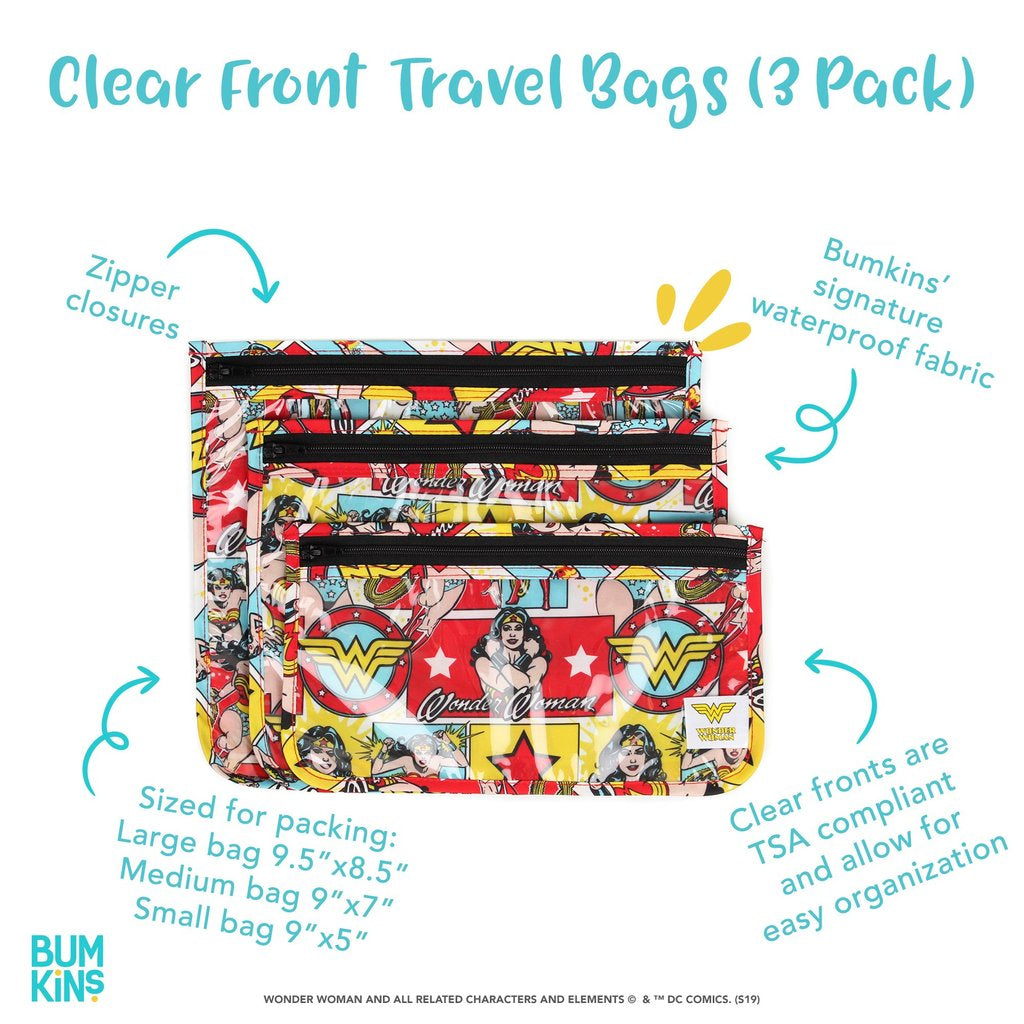 DC Comics Clear Travel Bag 3 Pack: Wonder Woman
