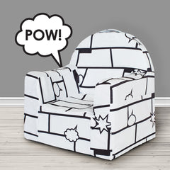Little Reader Chair - Comic Book: White with Black