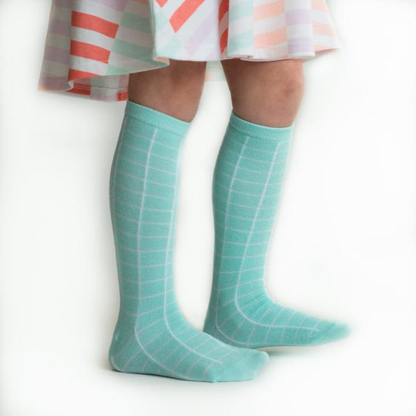 Aqua Mint Grid Knee Highs
