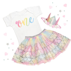 Rainbow Sequin Heart Tutu