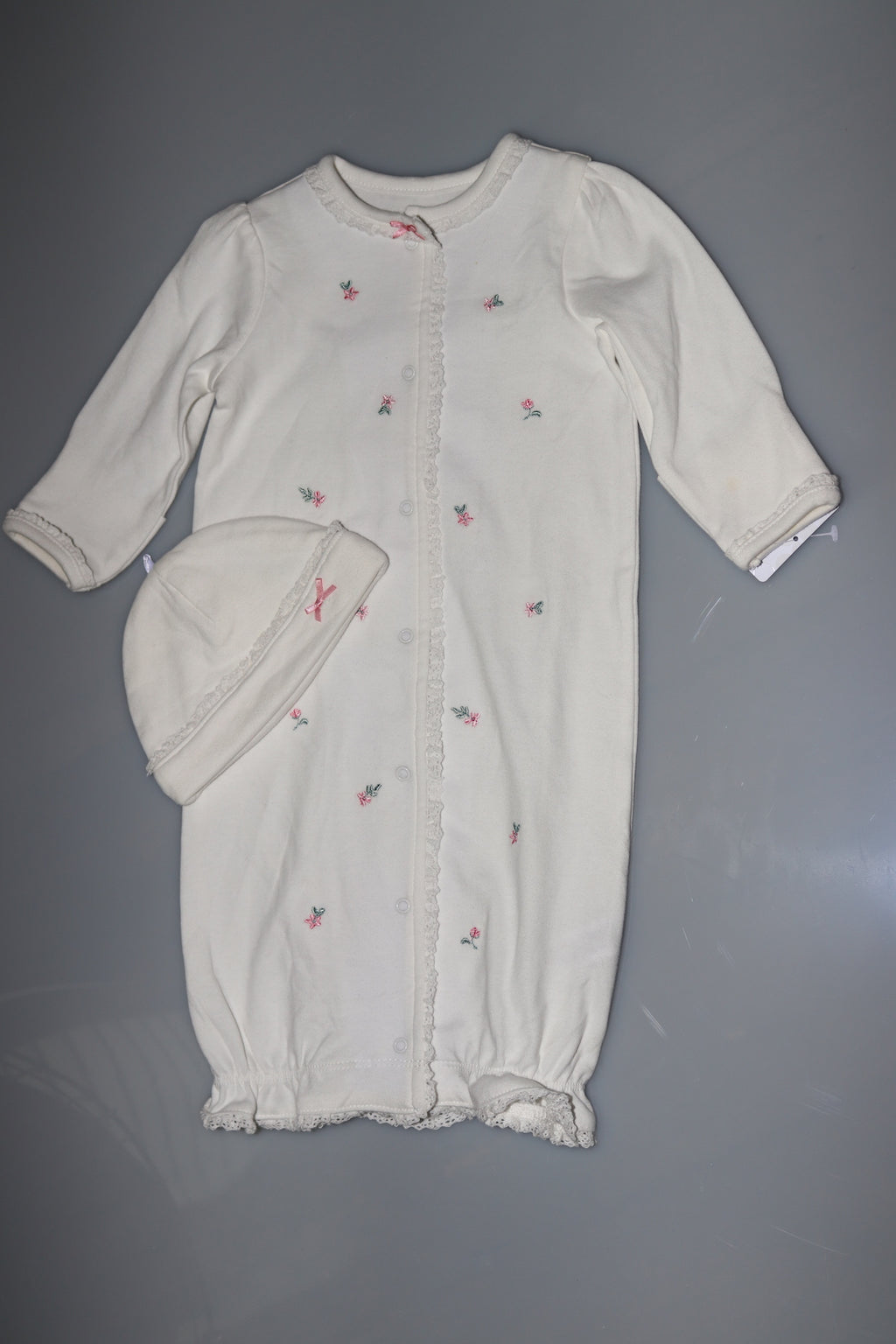 Chateau Rose Infant Gown & Hat 2pc Set