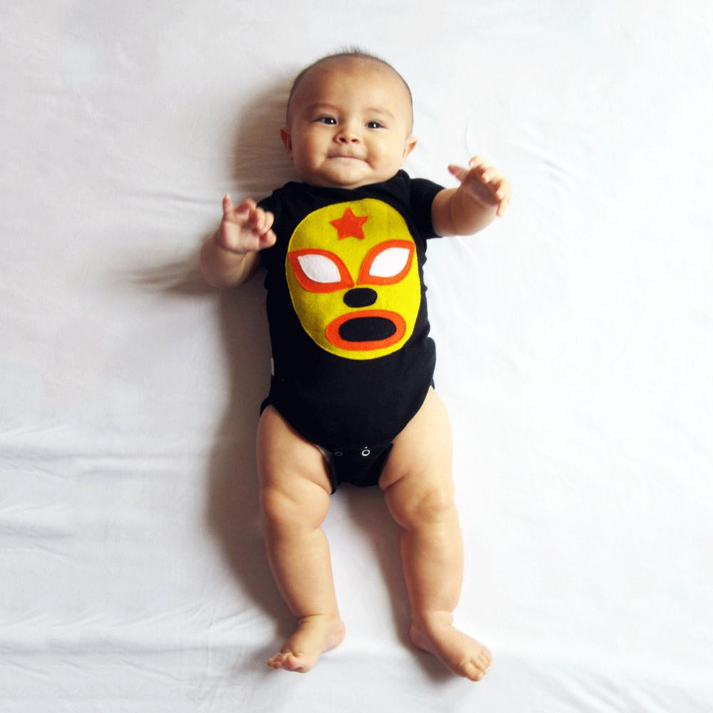 Baby Onesie - Luchador Amarillo - Yellow Mexican