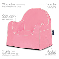 Little Reader Chair - Pink with White Piping