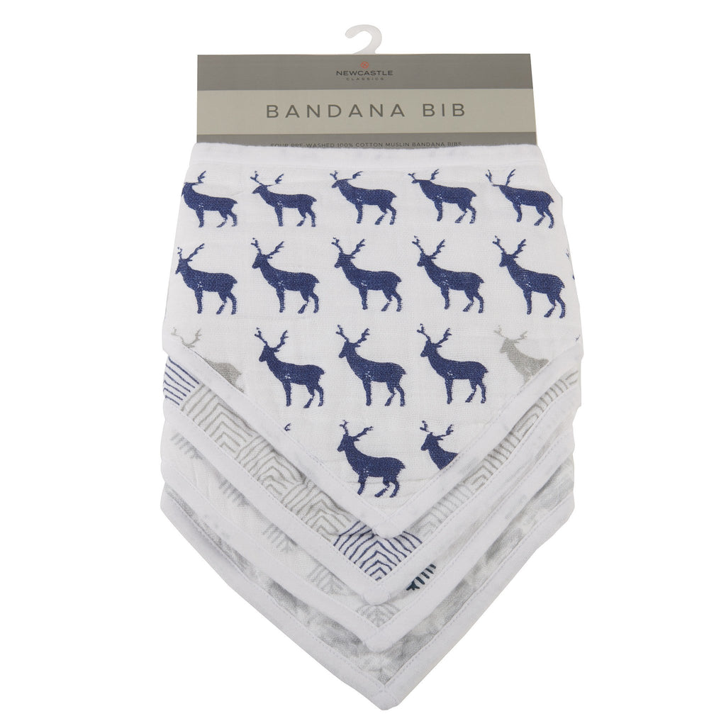 Blue Deer Bandana Bibs (Set of 4)