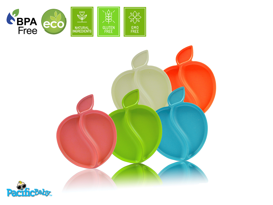Bamboo Apple Plate Set (Multi-Color) - 5 pieces